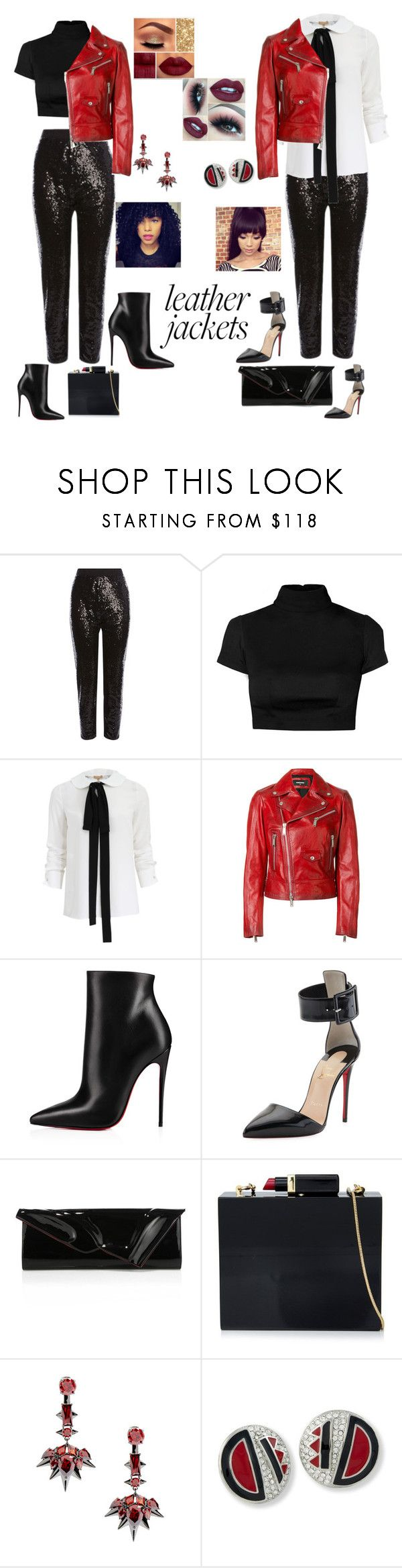 """""""Untitled #594"""" by ericap61720 ❤ liked on Polyvore featuring Michael Kors, Dsquared2, Christian Louboutin, Lulu Guinness, Noir Jewelry and Kenneth Jay Lane"""