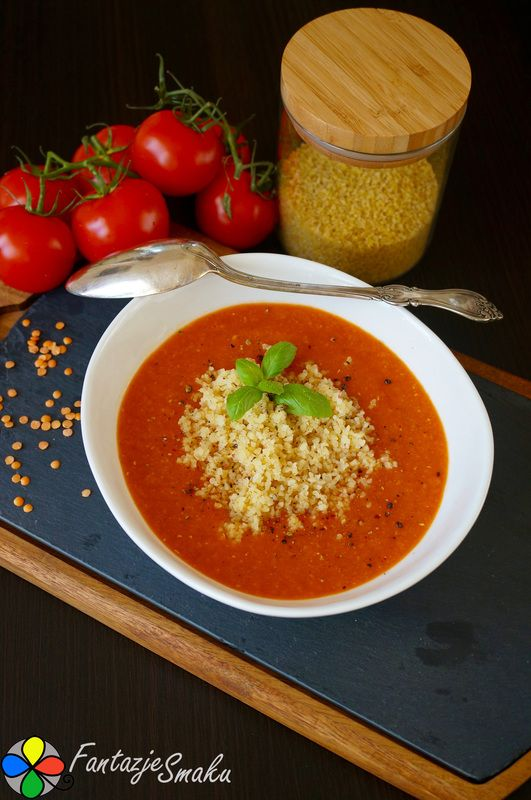 Krem z pomidorów i czerwonej soczewicy z kaszą bulgur http://fantazjesmaku.weebly.com/krem-z-pomidoroacutew-i-czerwonej-soczewicy-z-kasz261-bulgur.html