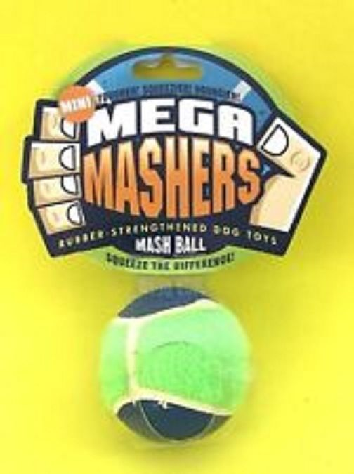 Mega Mashers Mash Ball Tougher Squeezier Bouncier Dog Toy Blue/Green #MegaMashers