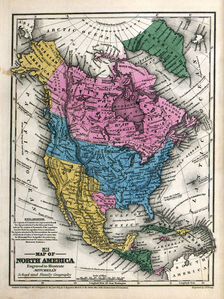 vintage North America map Digital print USA