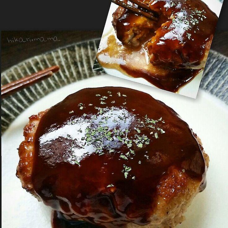 Juicy Meat With Gravy ハンパない肉汁で口がテカテカになります(‾᷅👄‾᷄)笑 がっつりお肉!なハンバーグです♥  牛肉は牛バラ、切り落とし、牛脂でもok♪  今日は、捨てようとした和牛の脂身がもったいなかったのでひき肉に混ぜてみました( ´ ▽ ` )