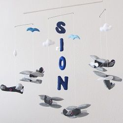 Custom vintage plane felt mobile. Order your custom mobile at www.for-example.co.za