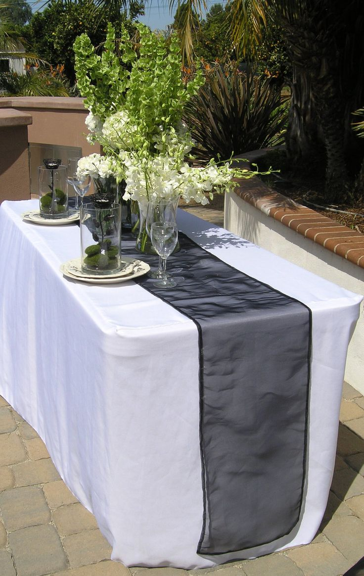 Black Table Runner, Extra Long Table Runner, Black Organza Runner, Custom Size and Large Orders Available. $20.00, via Etsy.