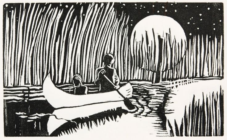 Flooded River - linocut - Di Oliver