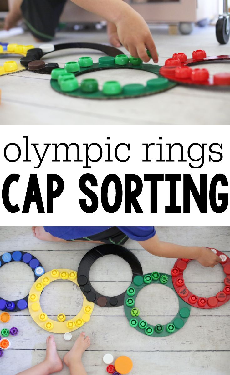 Olympic Rings Cap Sorting:  Super simple color-recognition activity for toddlers and preschoolers!