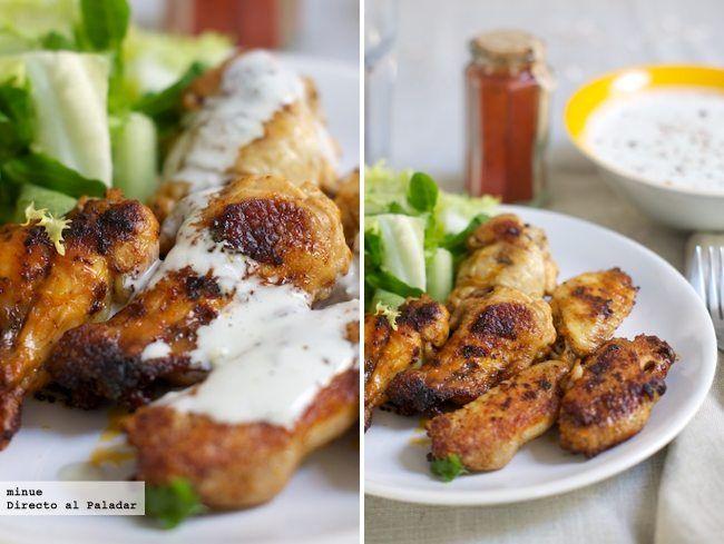 Alitas de pollo picantes con pimentón de la Vera y salsa de queso azul