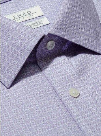Big&Tall-Purple Check Dress Shirt With ENRO Spread Collar