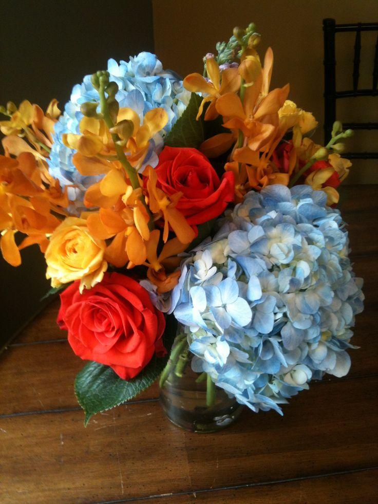 Bright flowers. Blue orange yellow