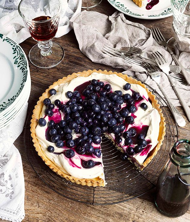Australian Gourmet Traveller dessert recipe for blueberry tart.