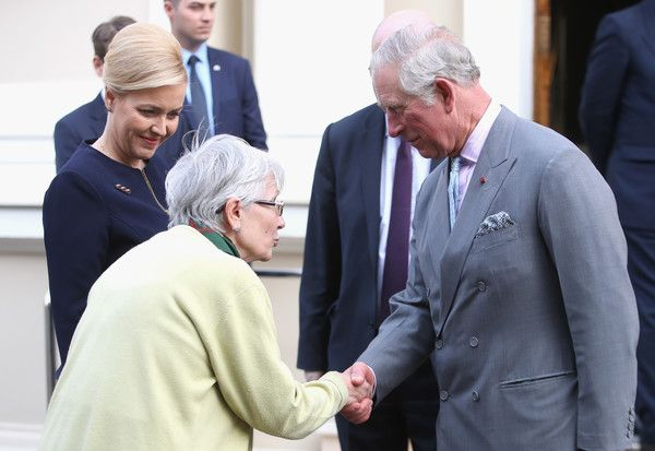 Prince Charles, Prince of Wales is greeted by the Romanian Minister of Internal Affairs, Carmen Dan (2nd L) as he visits The British Embassy to attend a meeting on the Issue of Modern Slavery on the second day of his nine day European tour, on March 30, 2017 in Bucharest, Romania. - The Prince of Wales Visits Romania - Day 2