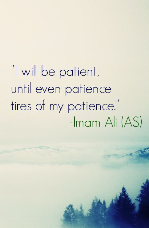I will be patient, until even patience tires of my patience. -Imam Ali (AS)
