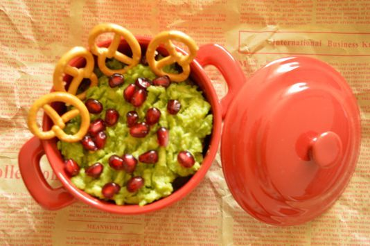 Avocado spread with pomegranate seeds