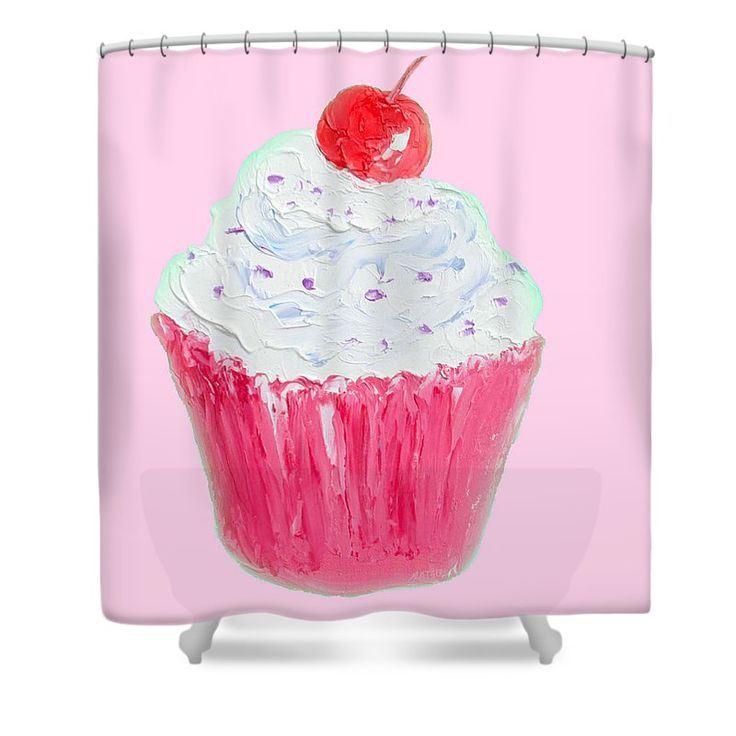 """Cupcake Painting On Pink Background Shower Curtain by Jan Matson.  This shower curtain is made from 100% polyester fabric and includes 12 holes at the top of the curtain for simple hanging.  The total dimensions of the shower curtain are 71"""" wide x 74"""" tall."""