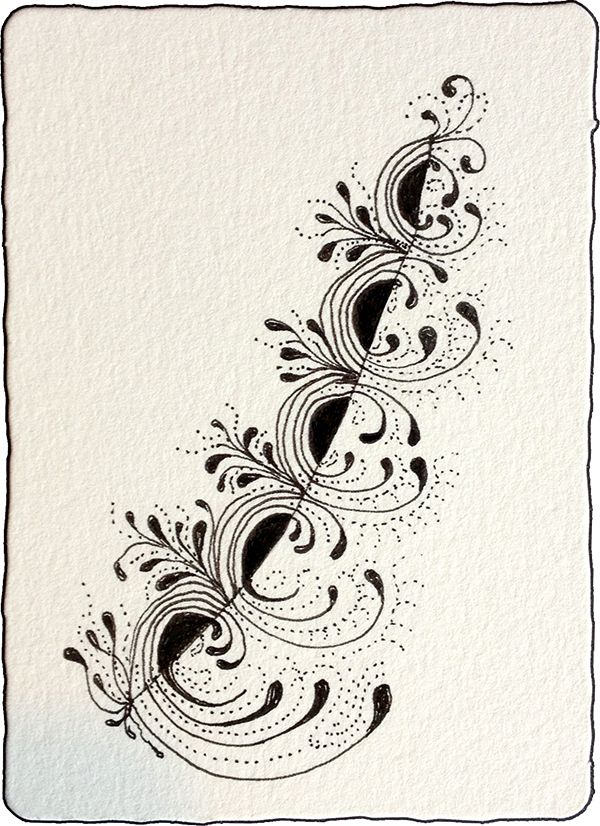 Crescent Moon tangleation play by Mary Bartrop.