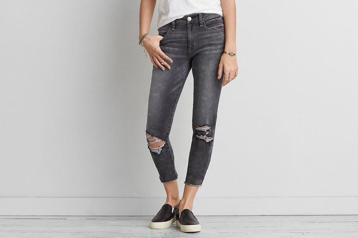 White T-Shirt + Grey Ripped Jeans + Black Slip Ons // American Eagle Outffters