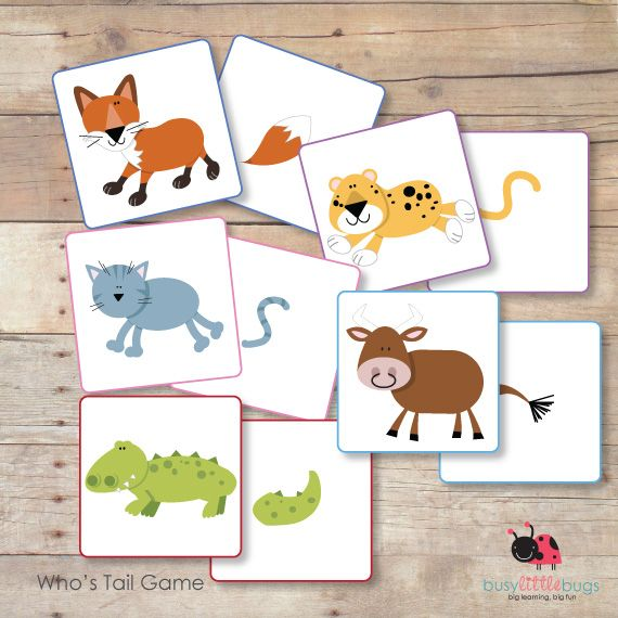 """Animal Matching Game, """"Who's Tail?"""" (free; from Busy Little Bugs)"""
