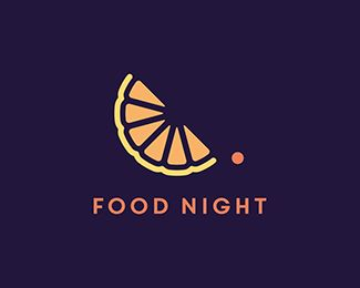 FoodNight logo design: A moon orange slice with a star cherry. Food logo Fruit logo