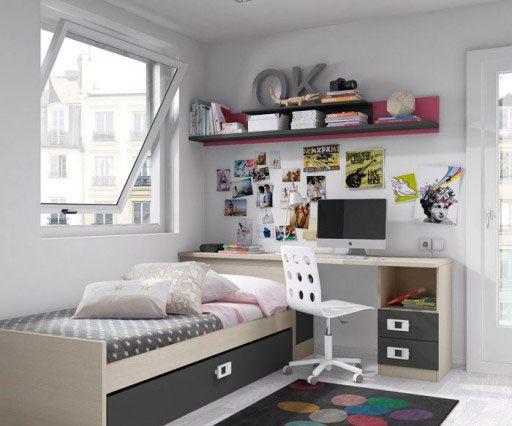 Decorar una zona de estudio de un dormitorio juvenil. Dormitorio de la colección Niu de Kibuc con cama nido y escritorio.