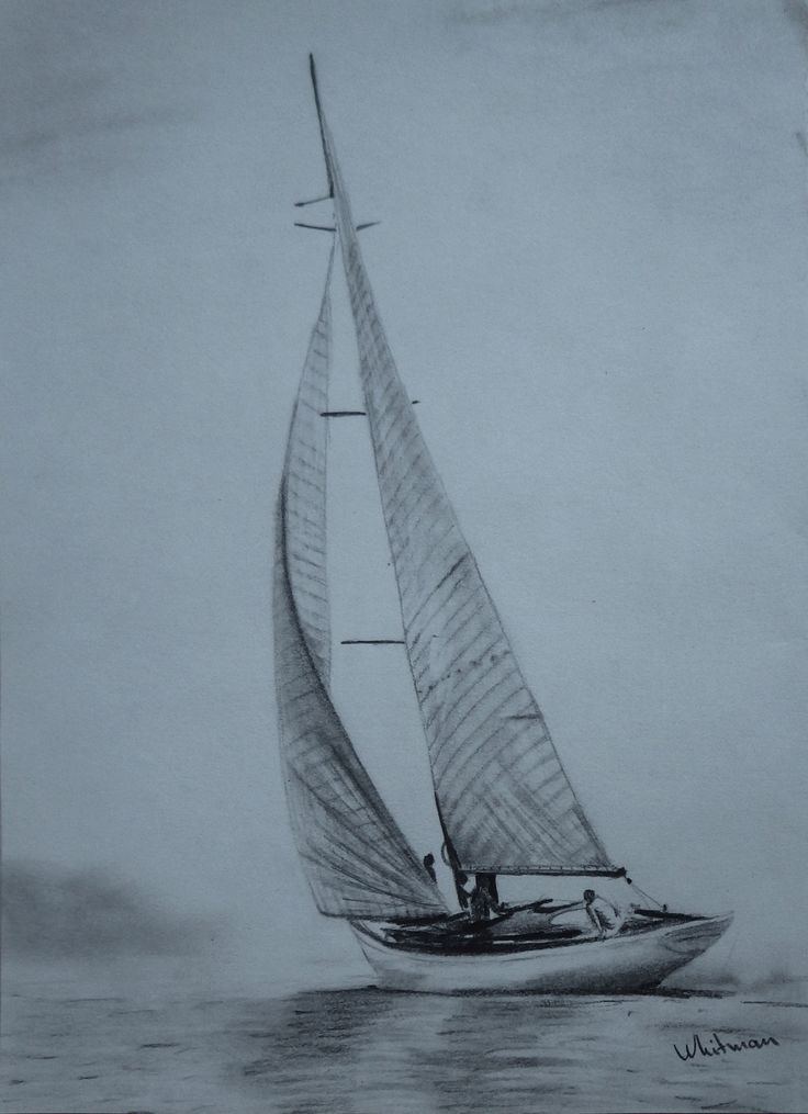 $30 Sailing yacht sketch, full sails, misty shore, water reflections. Original art, graphite pencil drawing by Elena Whitman.