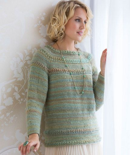 Tunisian Star Stitch Pullover Free Crochet Pattern from Red Heart Yarns