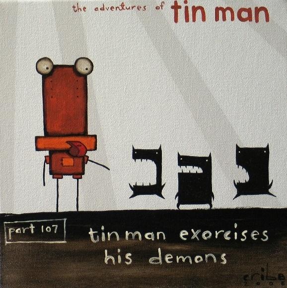 L'Estrange Art Gallery : Artists: Tony cribb Tin Man exercises his demons