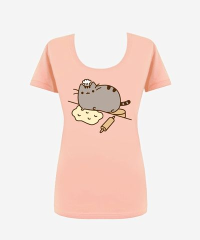 Baker Pusheen T-shirt (womens) 50% cotton, 50% polyester, semi-sheer, made in the USA - Hey Chickadee