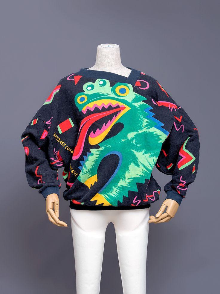 Kansai Yamamoto Dragon Sweatshirt with Asymmetrical Collar and Flap, 1980s #fashion