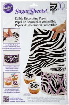 Zebra print sugar sheets: Just peel, punch or cut and place your decorations in minutes