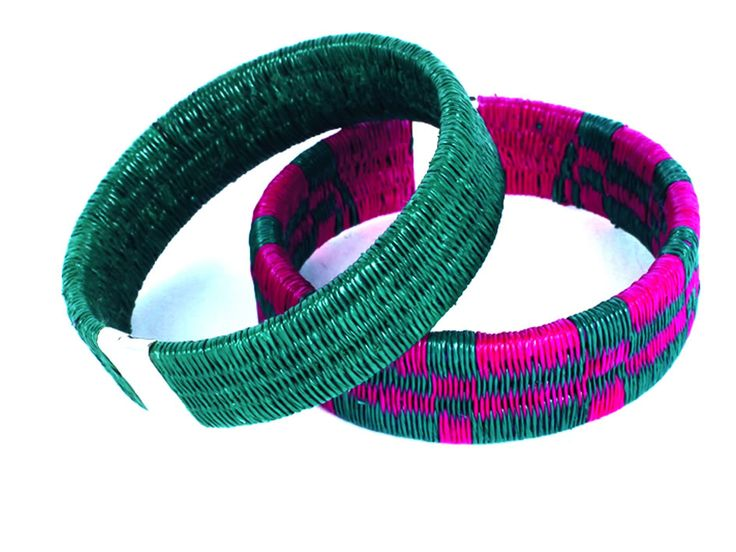 Bracelets made from palm fibers with a silver clasp