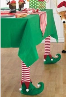 Elf table legs.  Could do this with witches legs for Halloween too.