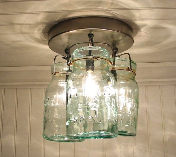 Greenish Vintage Canning Jar CEILING LIGHT Created NEW on Etsy, $160.00