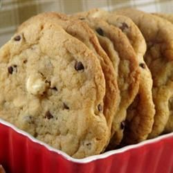 Chewy Cookies    Ingredients  Serves: 18  250g plain flour  1/2 teaspoon bicarbonate of soda  1/2 teaspoon salt  170g unsalted butter, melted  200g dark brown soft sugar  100g caster sugar  1 tablespoon vanilla extract  1 egg  1 egg yolk  325g chocolate chips