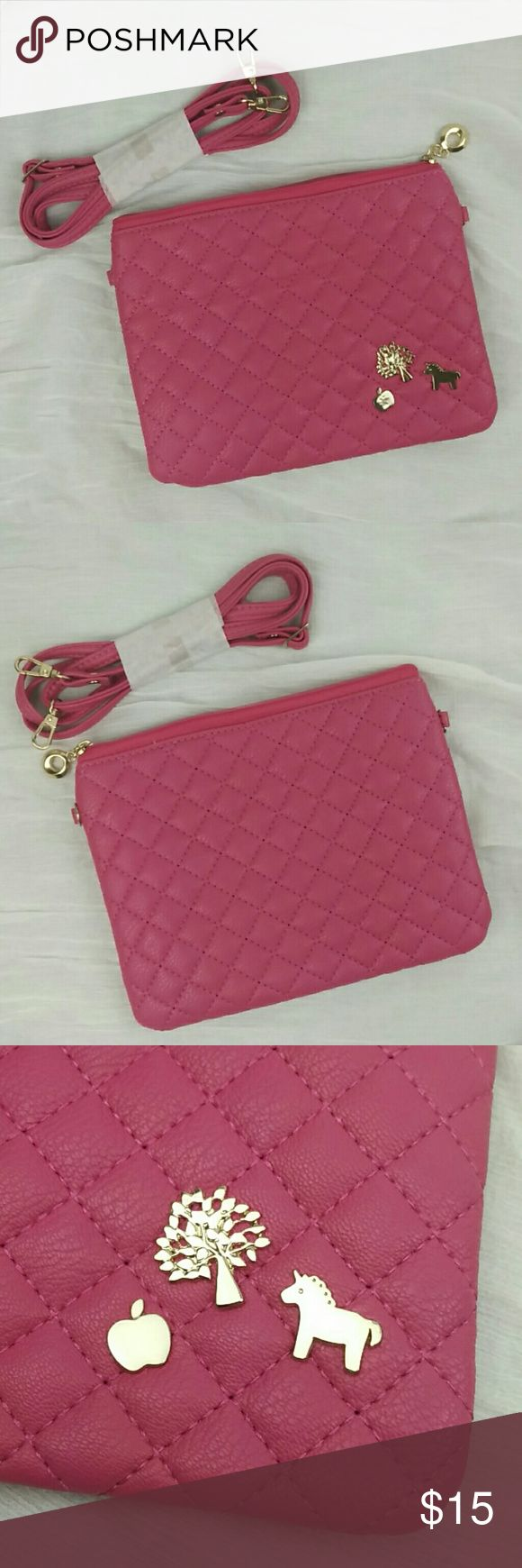 Cute hot pink shoulder bag New without tags. 8 x 6 inch, with adjustable strap 28 ~50 inch! Cute hot pink! Bags Shoulder Bags