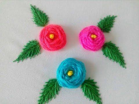 Roses with Woven Wheel Stitch|Rosas en Puntada Telaraña|Hand Embroidery - YouTube