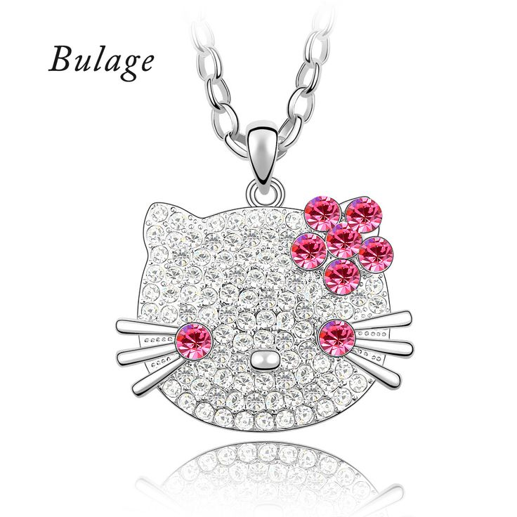 2017 Hello Kitty Rhinestone Austrian Crystals Necklace Long Chain Maxi Collier For Women Children Gifts Jewelry #Affiliate