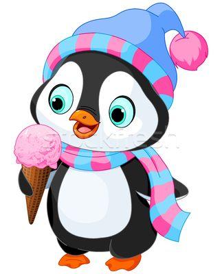 Penguin eats an ice cream - ilustração de vetor por Anna Velichkovsky (Dazdraperma) - Stockfresh #4996725