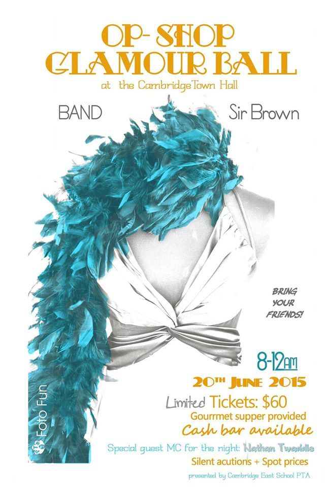 Poster for Op Shop Glamour Ball (organised by Cambridge East School), Photography & Design by PT´s Foto Fun