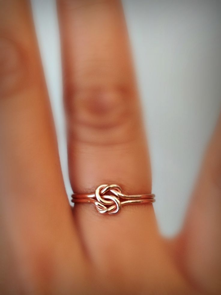 Double knot ring. wire wrapped handmade bohemian- available in rose gold, gold and silver. Ofina Jewelry