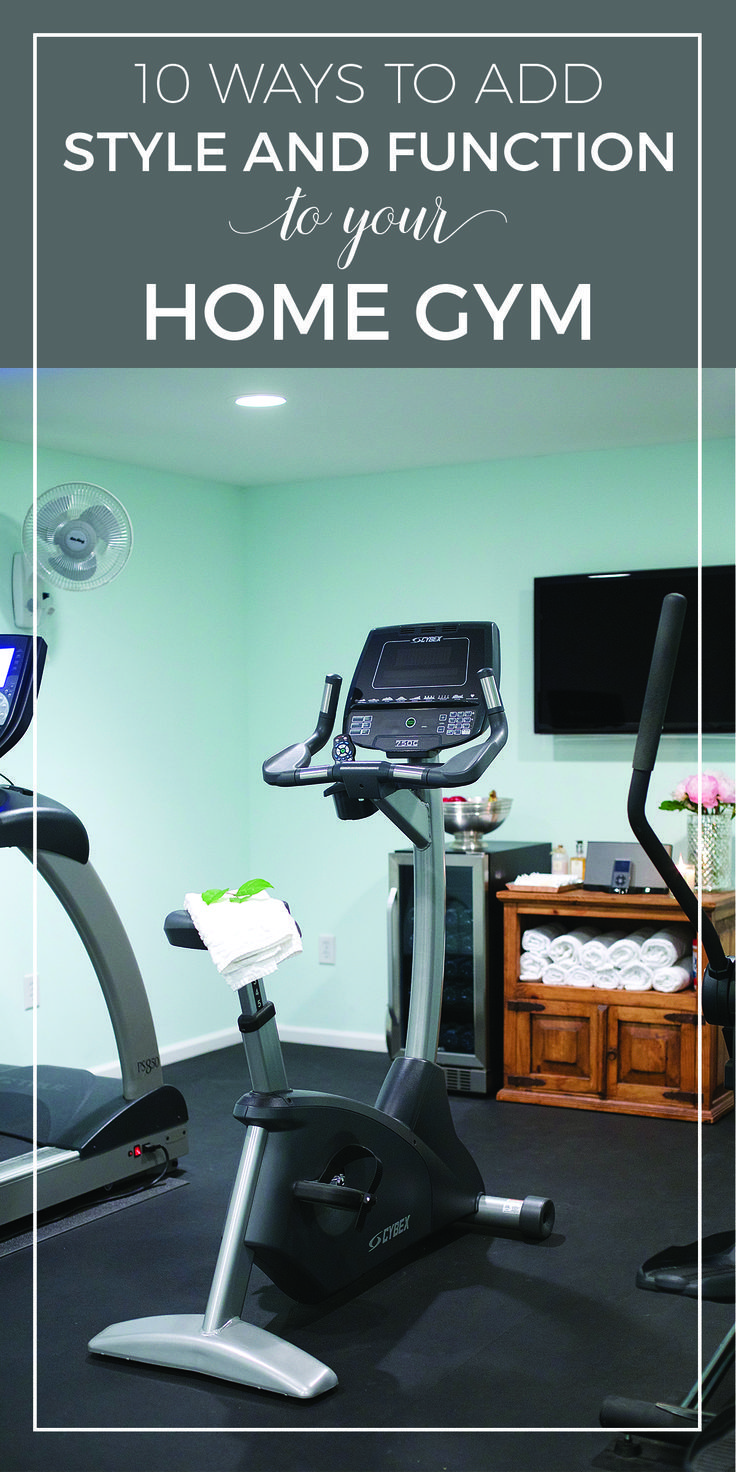 10 ways to add style and function to your home gym | Home gym ideas and essentials for a basement room | Modern luxury home gym design inspiration | Home gym must haves including equipment, flooring, mirrors, and storage | designthusiasm.com