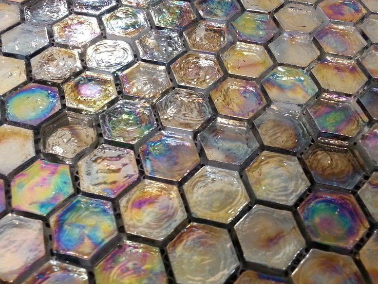 ExoTiles - BGJ Black Rainbow Hexagon Glass Mosaic Tiles, $36.00 (http://www.exotiles.com.au/bgj-black-rainbow-hexagon-glass-mosaic-tiles/)