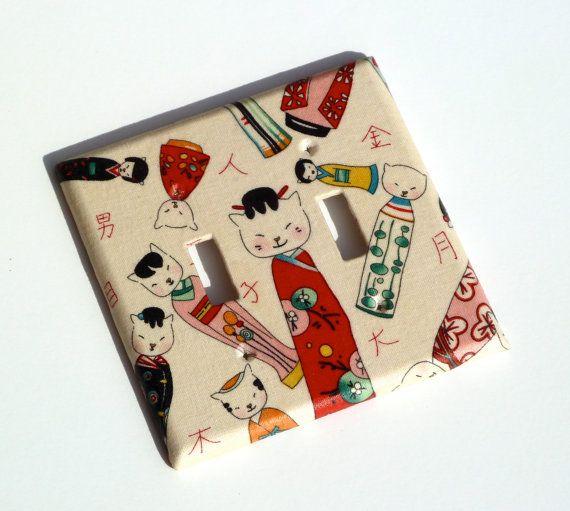 Kokeshi japanese cat light switch plate cover christmas