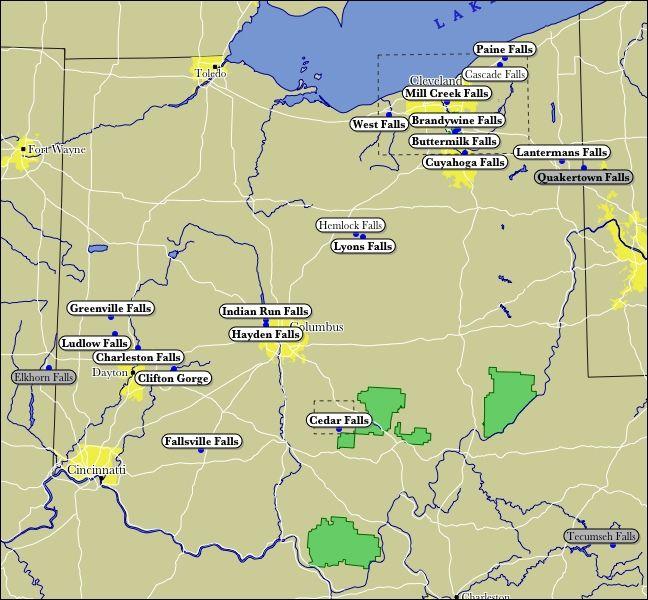 Map of Ohio WaterFalls.  Hey @Patrick Beaugrand, I think I found something I wanna do with you... :)