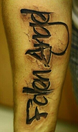 Fallen Angel tattoo, stone imprint lettering