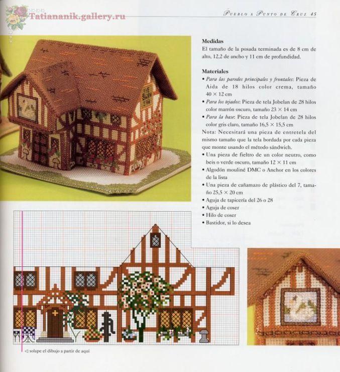 Casa en 3D en punto de cruz                                                                                                                                                                                 Más