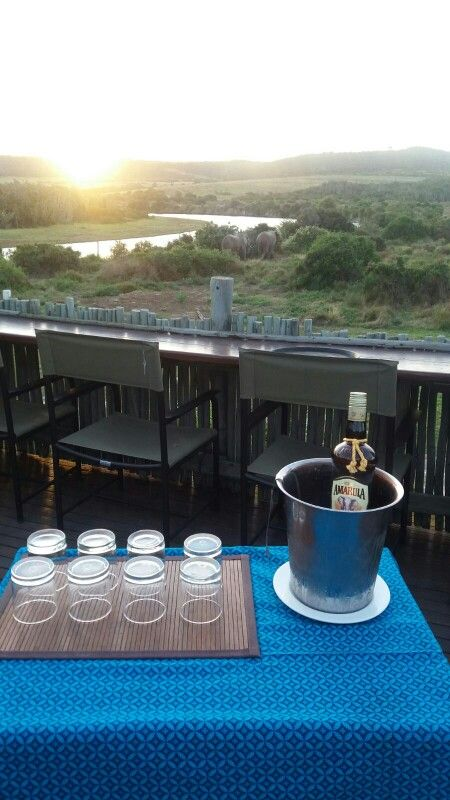 Sundowners on the deck of River Camp