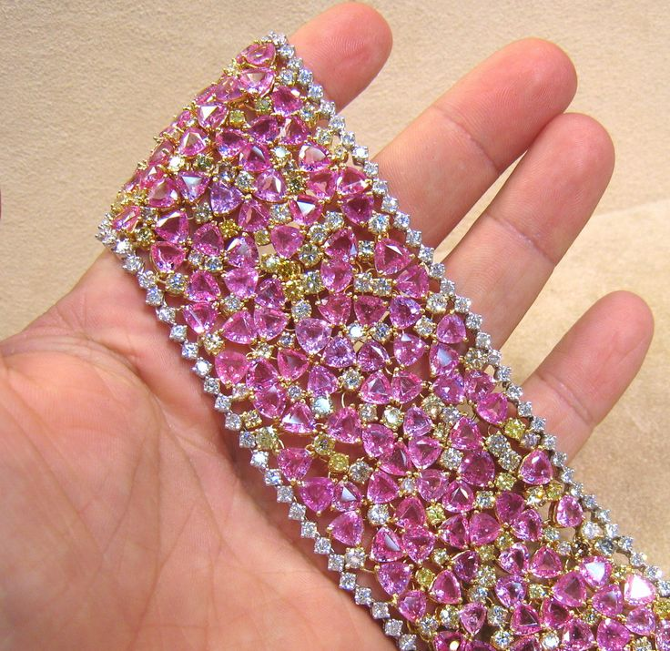 Pink Sapphire and Diamond bracelet |  Buy loose #gemstones online at mystichue.com