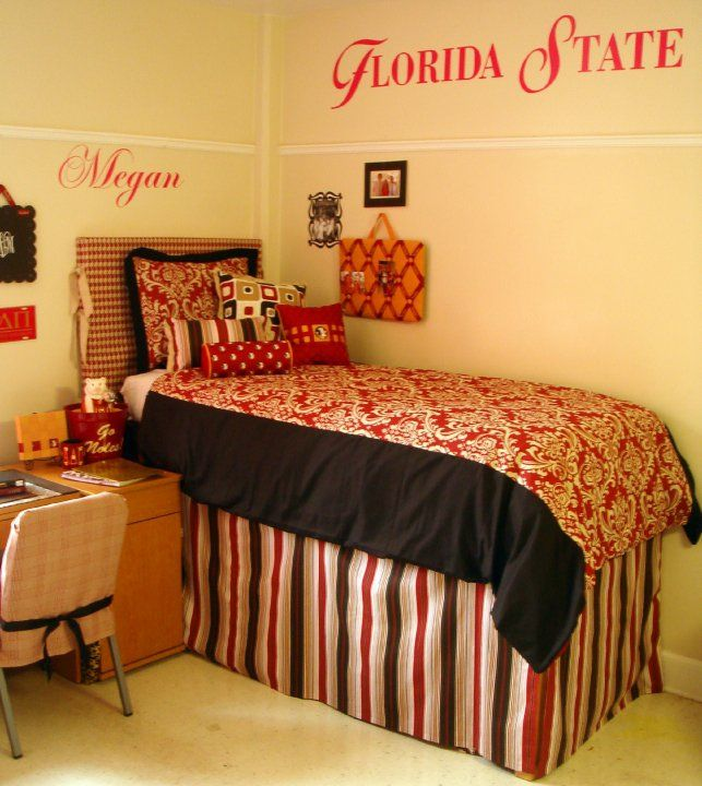 Dorm Rooms Decor Use Your Own School Colors High Bed And Skirt Cover