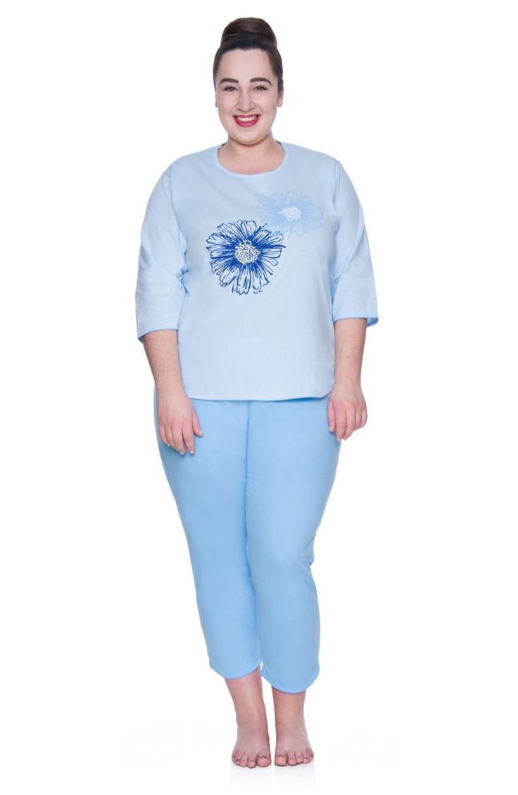 Błękitna piżama w kwiaty - Modne Duże Rozmiary