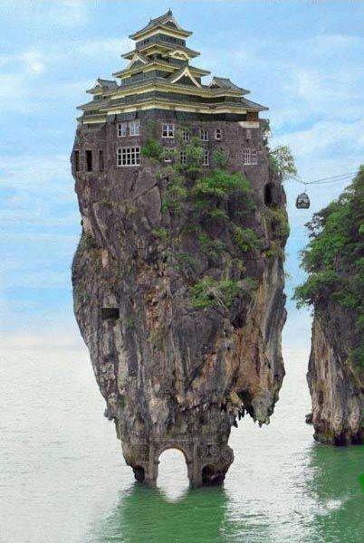 """Honshu Island, Japan"": photomontage with Koh Tapu Island in Thailand and Matsumoto Castle (Nagano, Japan)"