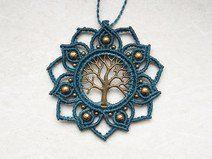macrame makramee kette charm mandala hippie bronze (Cool Crafts Shops)
